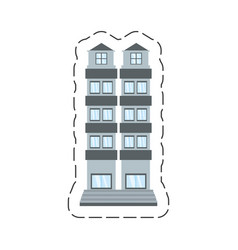 cartoon building apartment family vector image