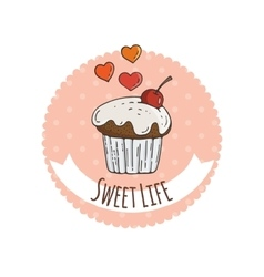 Colorful Muffins Background vector image