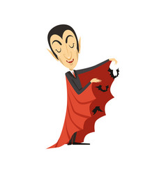 Count dracula and flying bats vampire in suit and vector