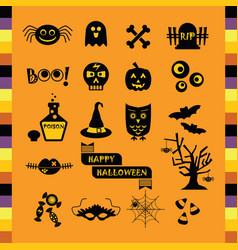 cute halloween black silhouette icons set on vector image
