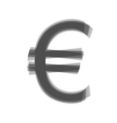 Euro sign gray icon shaked at white vector
