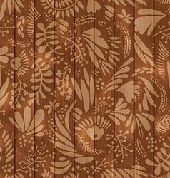 Floral pattern on wooden seamless background vector image vector image