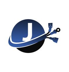Global electricity letter j vector