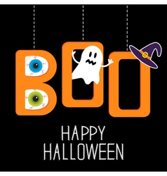 Hanging word boo with ghost eyeballs and witch hat vector