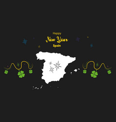 Happy new year theme with map of spain vector