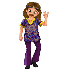 Hippie man in purple costume vector