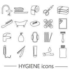 Hygiene theme modern simple black outline icons vector