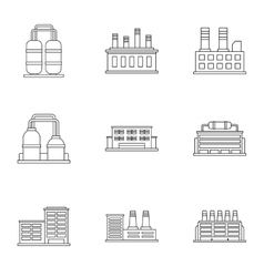 Industrial complex icons set outline style vector