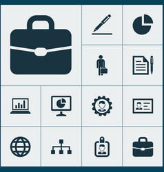 job icons set collection of earth suitcase vector image vector image