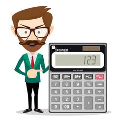 Mathematical man holding calculator vector