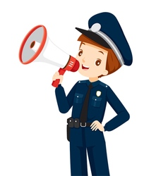 Policeman with megaphone announcement vector
