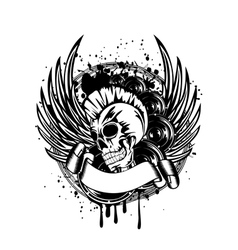 punk with wings sign vector image