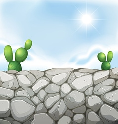 Scene with stone wall and cactus vector