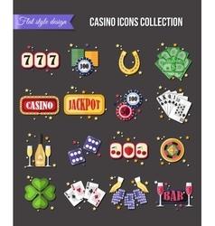 Set of colorful modern gambling icons casino vector image