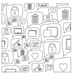 Silhouette pattern formed by dialogue social icons vector