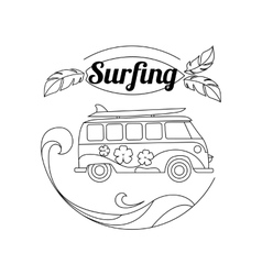 Surf trip outline background minimalistic linear vector