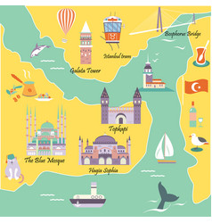 tourist map with famous landmarks of istanbul vector image vector image