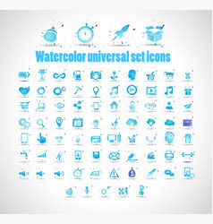 watercolor universal set icons on white background vector image