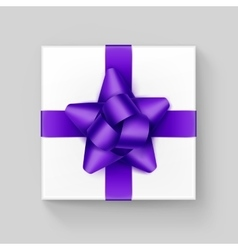 White gift box with purple violet ribbon bow vector