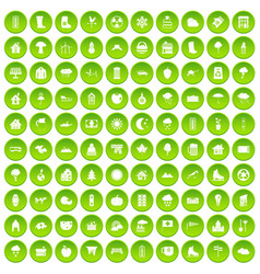 100 country house icons set green circle vector