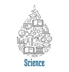 Science icon in water drop shape vector