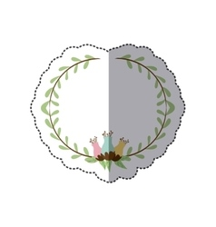 sticker decorative half border with leaves and vector image