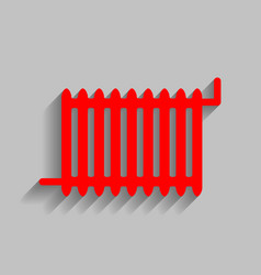 Radiator sign red icon with soft shadow vector