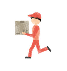 drawing delivery man handing box vector image
