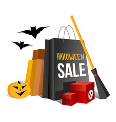 halloween shopping paper bags and pumpkin vector image