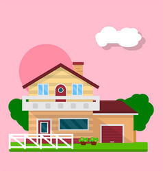 Cute residential house vector