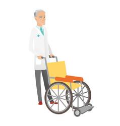 Senior caucasian doctor pushing wheelchair vector