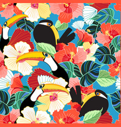 bright tropical seamless pattern of toucans vector image