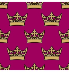 Heraldic seamless pattern with royal crowns vector