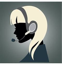 Girl with headset vector