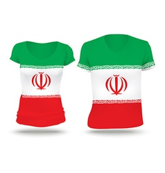 Flag shirt design of iran vector