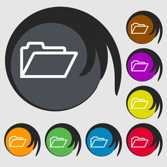 Folder icon sign Symbol on eight colored buttons vector image