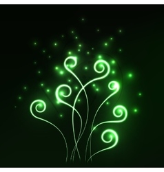 Green magic light fern greenery abstract vector