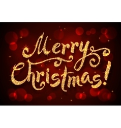 Merry Christmas golden glitter sign at dark red vector image
