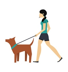 Walking the dog design vector