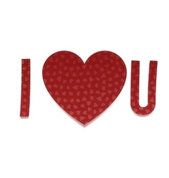 I love you red paper inscription vector