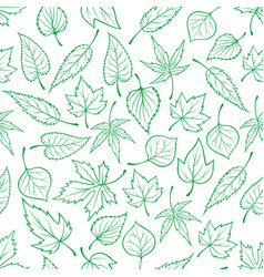 Emerald green leaves seamless pattern vector