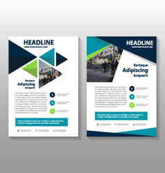 Blue green leaflet brochure flyer templates vector