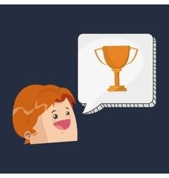 Success design winner icon flat vector