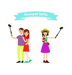 Monopod selfie concept girl holding a puppy and vector