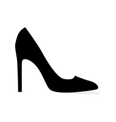black modern stilleto shoe isolated silhouette vector image