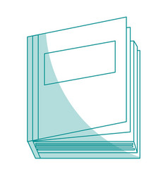 blue silhouette shading top view semi opened book vector image