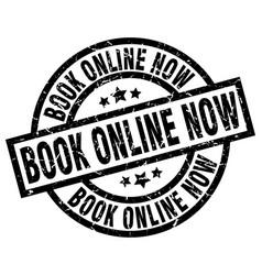 Book online now round grunge black stamp vector