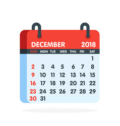 Calendar for 2018 year full month of december icon vector
