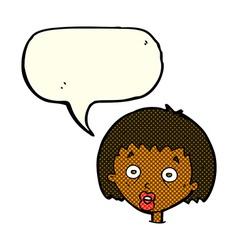 Cartoon shocked woman with speech bubble vector