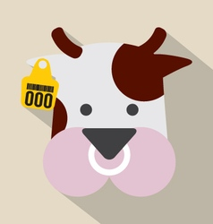Cute cow head with ear tag vector